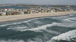 DCA08_150 - 4K stock footage aerial video of beachfront neighborhoods in Mission Beach, California