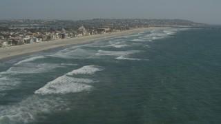 DCA08_151 - 4K stock footage aerial video of beachfront residential neighborhoods, Mission Beach, California