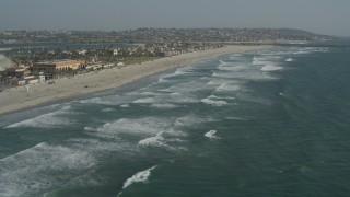 DCA08_152 - 4K stock footage aerial video of beachside residential neighborhoods, Mission Beach, California