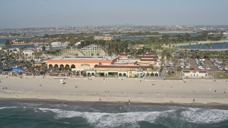 DCA08_153 - 4K stock footage aerial video of a beachside roller coaster, Mission Beach, California