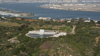 DCA08_163 - 4K stock footage aerial video of a hilltop military scientific facility, Point Loma, California