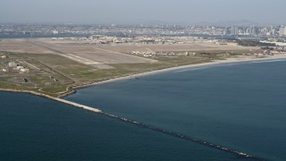 DCA08_169 - 4K stock footage aerial video of an island military base, Naval Air Station North Island, California