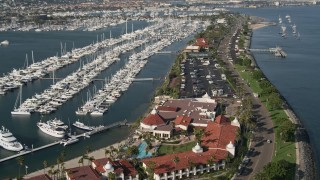 DCA08_174 - 4K stock footage aerial video of an oceanfront hotel and marina on Shelter Island, California