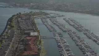 DCA08_178 - 4K stock footage aerial video of an oceanfront hotel and a marina on Shelter Island, California