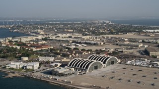 DCA08_180 - 4K stock footage aerial video of an island military base, Naval Air Station North Island, California