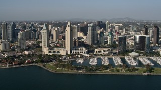 DCA08_181 - 4K stock footage aerial video of skyscrapers and luxury waterfront hotels, Downtown San Diego, California