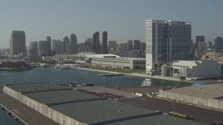 DCA08_192 - 4K stock footage aerial video of a waterfront hotel and convention center, Downtown San Diego, California