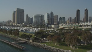 DCA08_193 - 4K stock footage aerial video of a waterfront convention center and hotels, Downtown San Diego, California