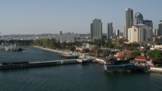 DCA08_195 - 4K stock footage aerial video flyby Seaport Village in Downtown San Diego, California