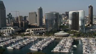 DCA08_201 - 4K stock footage aerial video of waterfront luxury hotels and marina, Downtown San Diego, California