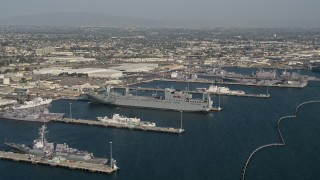 DCA08_204 - 4K stock footage aerial video of docked warships at the Naval Base San Diego, California