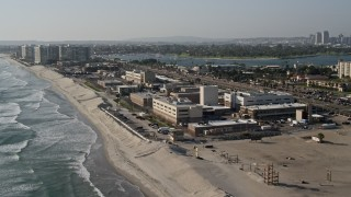 DCA08_208 - 4K stock footage aerial video of an oceanfront military base, Naval Amphibious Base, Coronado, California