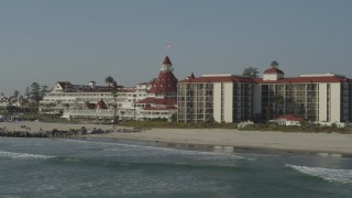 DCA08_210 - 4K stock footage aerial video of the historic oceanfront hotel, Hotel del Coronado, California
