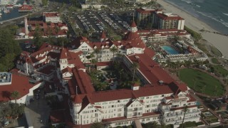 DCA08_212 - 4K stock footage aerial video of orbiting the landmark oceanfront Hotel del Coronado in California