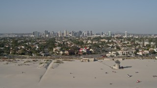 DCA08_214 - 4K stock footage aerial video of the city skyline and beachfront property, Downtown San Diego and Coronado, California