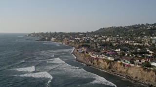 DCA08_238 - 4K stock footage aerial video of upscale, oceanfront homes and coastal cliffs, La Jolla, California