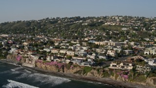 DCA08_239 - 4K stock footage aerial video of upscale, oceanfront neighborhoods and cliffs, La Jolla, California