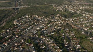DCA08_265 - 4K stock footage aerial video of railroad tracks and tract homes, University City, California