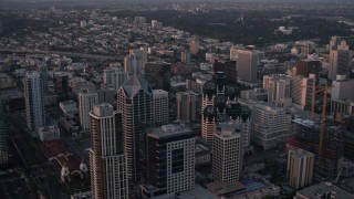 DCA08_310 - 4K stock footage aerial video of panning across skyscrapers in Downtown San Diego, California, Sunset
