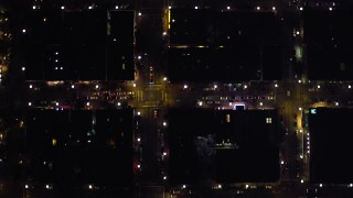DCA08_353 - 4K stock footage aerial video of a bird's eye view of city streets in Downtown San Diego, California, Night