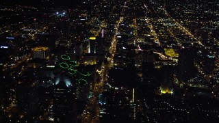 DCA08_355 - 4K stock footage aerial video pan across skyscrapers in Downtown San Diego, California, Night