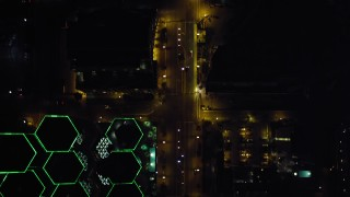 DCA08_356 - 4K stock footage aerial video of a bird's eye view of city streets and skyscrapers in Downtown San Diego, California, Night