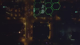 DCA08_362 - 4K stock footage aerial video of skyscrapers and city streets in Downtown San Diego, California at night