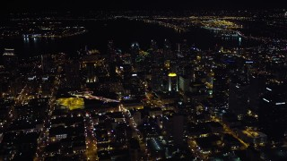 DCA08_368 - 4K stock footage aerial video of a wide view of downtown skyscrapers, Downtown San Diego, California, Night