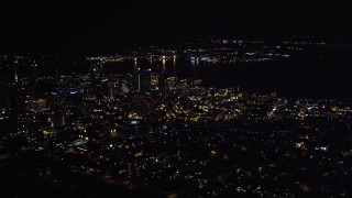 DCA08_370 - 4K stock footage aerial video of a wide orbit of skyscrapers in Downtown San Diego, California, Night