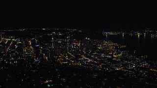 DCA08_371 - 4K stock footage aerial video of a wide view of skyscrapers in Downtown San Diego, California, Night