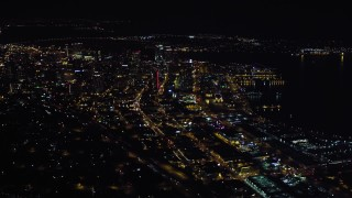 DCA08_372 - 4K stock footage aerial video of passing city skyscrapers in Downtown San Diego, California, Night