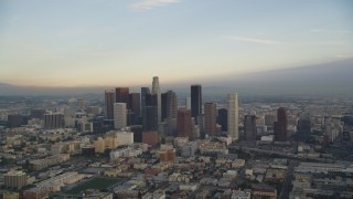 DCLA_023 - 5K stock footage aerial video of Downtown Los Angeles skyline at sunset, California