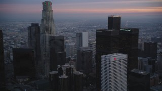 DCLA_075 - 5K stock footage aerial video flyby skyscrapers in Downtown Los Angeles, California at twilight