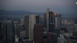 DCLA_079 - 5K stock footage aerial video pass The Ritz-Carlton to reveal towers in Downtown Los Angeles at twilight, California