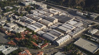 DCLA_106 - 5K stock footage aerial video of Warner Bros Studios in Burbank, California