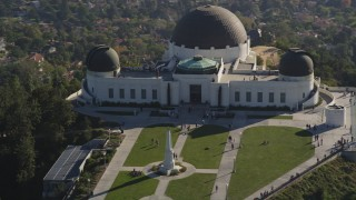 DCLA_109 - 5K stock footage aerial video flyby the hilltop Griffith Observatory in Los Angeles, California