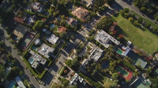 DCLA_115 - 5K stock footage aerial video of a bird's eye view of Beverly Hills mansions in California