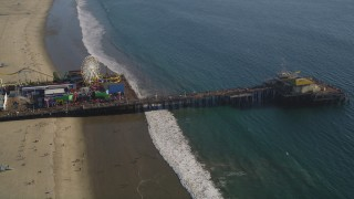 DCLA_124 - 5K stock footage aerial video orbit of the Santa Monica Pier in Los Angeles, California