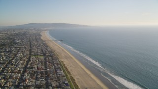 DCLA_198 - 5K stock footage aerial video of beach and coastal community of Manhattan Beach, California