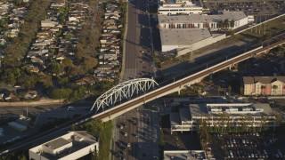 DCLA_200 - 5K stock footage aerial video fly over Rosecrans Avenue through Manhattan Beach, California