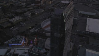 DCLA_254 - 5K stock footage aerial video approach and flyby The Ritz-Carlton, Nokia Theater and Staples Center at sunset in Downtown Los Angeles, California