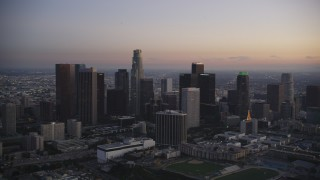 DCLA_267 - 5K stock footage aerial video of Downtown Los Angeles skyline at twilight in winter, California