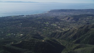 DCSF01_008 - 5K stock footage aerial video Santa Barbara seen from Santa Ynez Mountains, California
