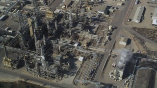 DCSF02_008 - 5K stock footage aerial video Fly away from Phillips 66 Company Santa Maria Refinery, Arroyo Grande, California