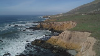 DCSF02_019 - 5K stock footage aerial video Fly over coastal cliffs near Diablo Canyon Power Plant, Avila Beach, California