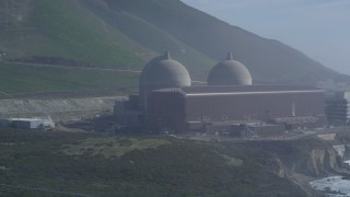 DCSF02_020 - 5K stock footage aerial video Flyby the Diablo Canyon Power Plant, Avila Beach, California