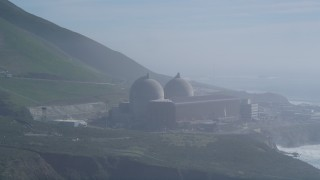 DCSF02_021 - 5K stock footage aerial video Diablo Canyon Power Plant overlooking the Pacific Ocean, Avila Beach, California