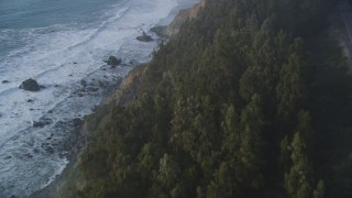 DCSF03_044 - 5K stock footage aerial video Fly over trees on the coastal cliffs of Big Sur, California