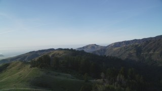 DCSF03_054 - 5K stock footage aerial video Flying over and pan across mountain ridges, Los Padres National Forest, California