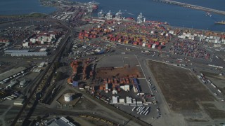 DCSF05_003 - 5K stock footage aerial video Approach shipping containers at the Port of Oakland, California